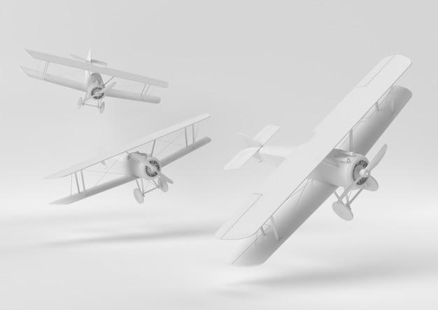 Kreative minimalpapieridee. weißes flugzeug des konzeptes mit weißem hintergrund. 3d übertragen, abbildung 3d. Premium Fotos