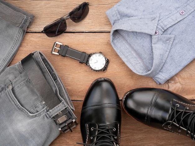 Kreative mode-design-outfits für männer freizeitkleidung gesetzt Premium Fotos