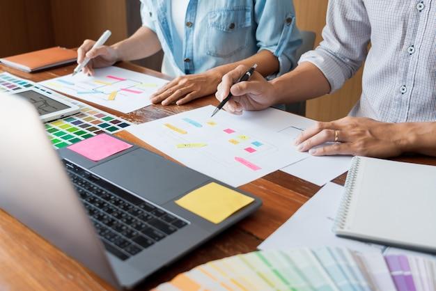 Kreative ui-designer-teamwork-besprechungsplanung, die ein drahtgitter-layout entwirft Premium Fotos