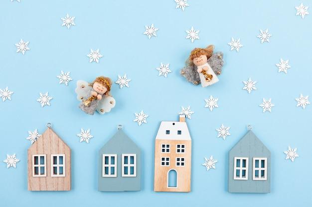 Kreative weihnachtskarte und grußkarte für das neue jahr Premium Fotos