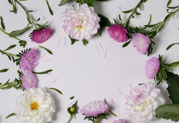 Kreativer hintergrund mit chrysanthemen- und dahlienblumen. blumenrand flach legen konzept Premium Fotos