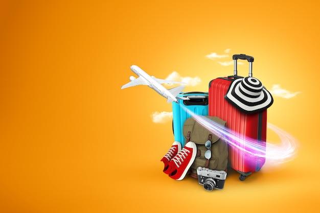 Kreativer hintergrund, roter koffer, turnschuhe, flugzeug auf einem gelben hintergrund. Premium Fotos
