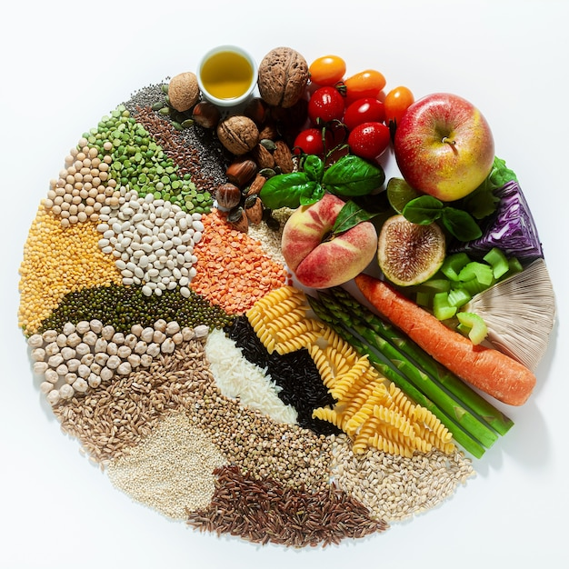 Kreis der veganen grundzutaten und produkte. getreide, hülsenfrüchte, frisches gemüse und obst, öle, samen und nüsse. ausgewogene gesunde ernährung isoliert auf weiß Premium Fotos