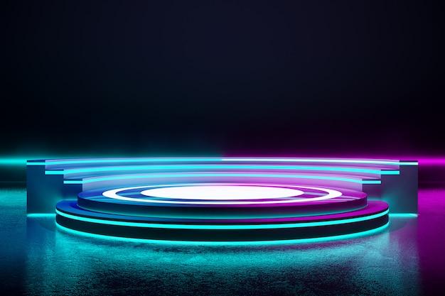 Kreisbühne mit neonlicht Premium Fotos
