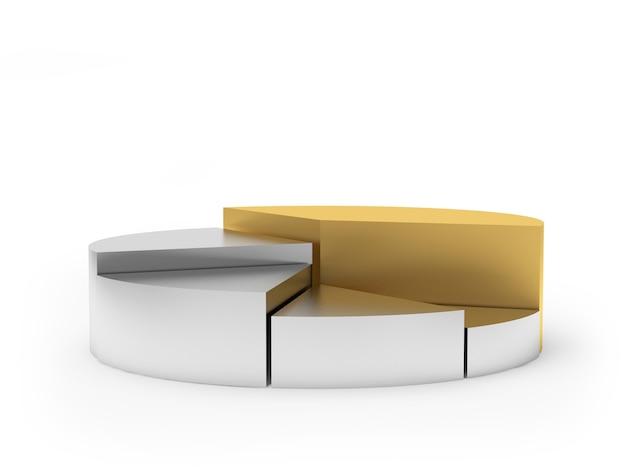 Kreisdiagramm mit gold- und silbersegmenten Premium Fotos
