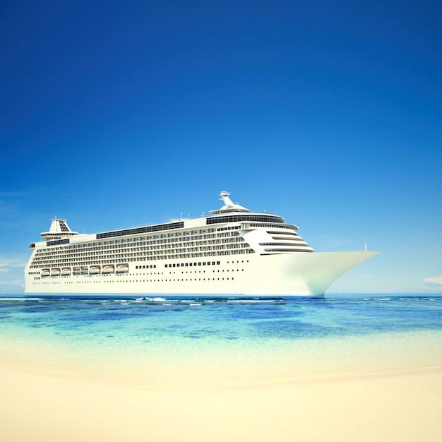 Kreuzschiff 3d an einem tropischen strand Premium Fotos