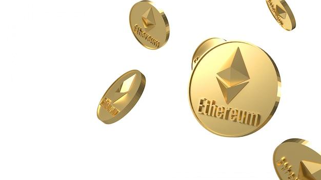 Kryptowährung der ethereum-münzen, die auf 3d-rendering des weißen hintergrunds fallen Premium Fotos