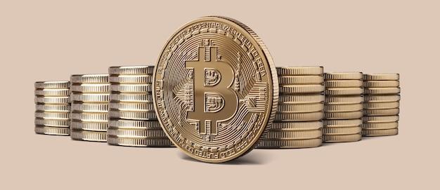 Kryptowährung physische gold-bitcoin-münze und stapel von bitcoins Premium Fotos