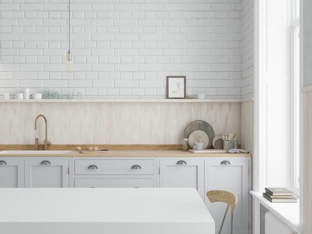 Küche mit weißen schränken und arbeitsplatte aus holz Premium Fotos