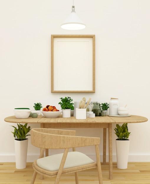 Küche stellte in pantrybereich und in feld für gestaltungsarbeit - wiedergabe 3d ein Premium Fotos
