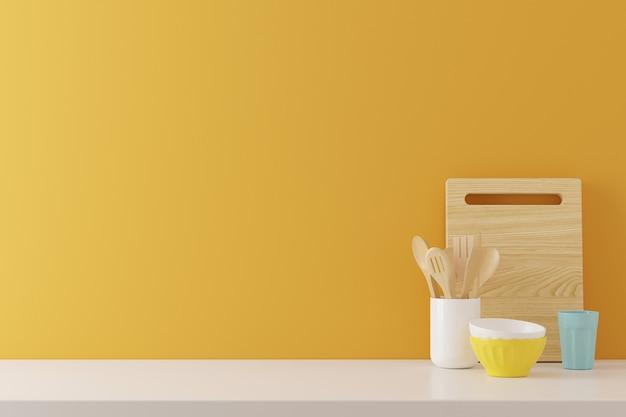 Küchengeräthintergrund mit gelbem betonmauerbeschaffenheitskopienraum für text, 3d übertragen Premium Fotos