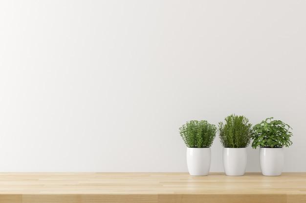 Küchengeräthintergrund mit weißem betonmauerbeschaffenheitskopienraum für text, 3d übertragen Premium Fotos
