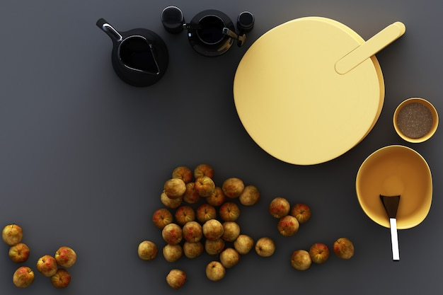 Küchengeschirr und gelbe äpfel auf grauem hintergrund. 3d-rendering Premium Fotos