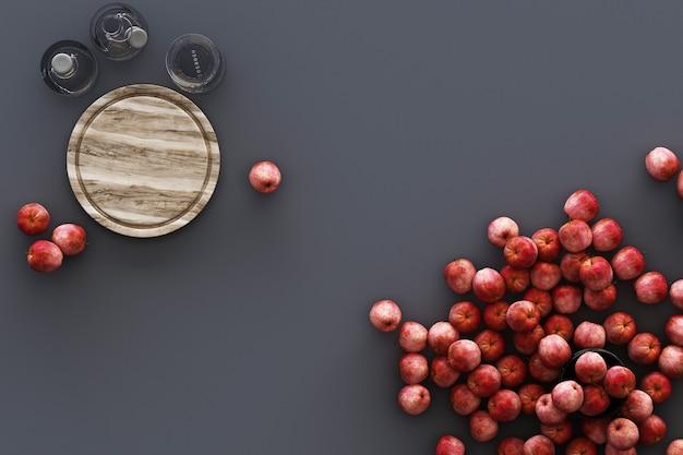 Küchengeschirr und viele äpfel auf grauem hintergrund. 3d-rendering Premium Fotos