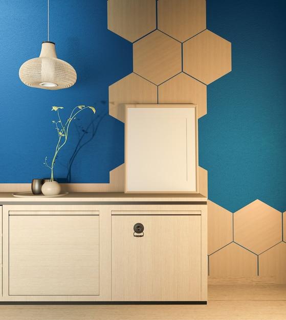 Küchenraumszene mit hölzerner thekenküche und dekoration auf dunkelblauer raumhexagonfliesenwand. 3d-rendering Premium Fotos