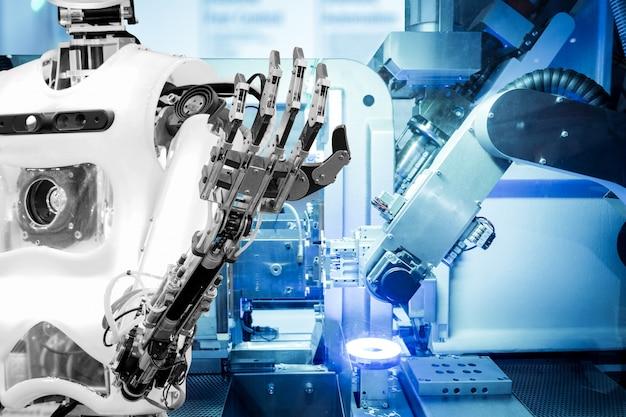 Künstliche intelligenz auf industrierobotik im blauen tonfarbhintergrund Premium Fotos