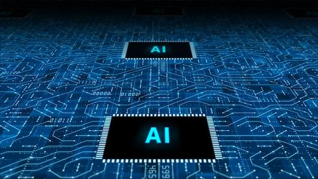 Künstliche intelligenz technologie cpu hintergrund Premium Fotos