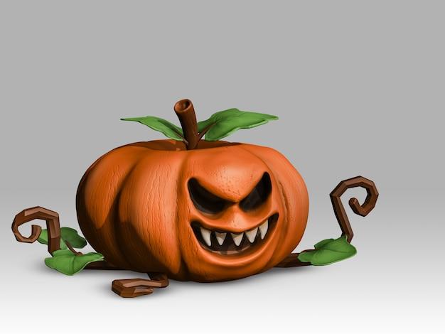 Kürbis 3d auf klarem hintergrund, übel, gespenstisch, geist, halloween Premium Fotos