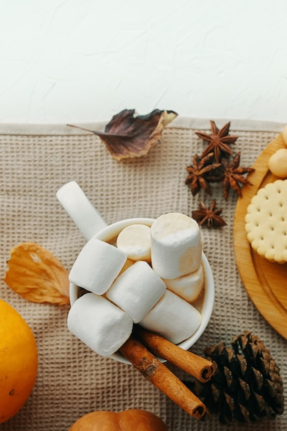 Kürbis mit tasse kaffees. heißer kakao mit marshmallows, keksen, zimt. ansicht von oben Premium Fotos