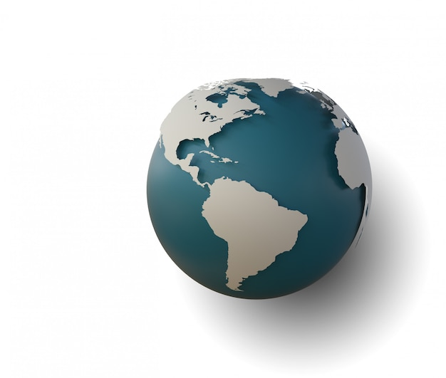 Kugelikone mit glatten schatten und weißer karte der kontinente der welt Premium Fotos