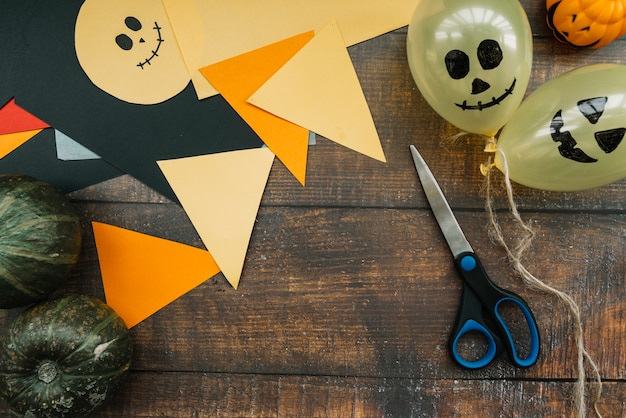 Kunstwerk arbeitsbereich für die vorbereitung zu halloween Kostenlose Fotos