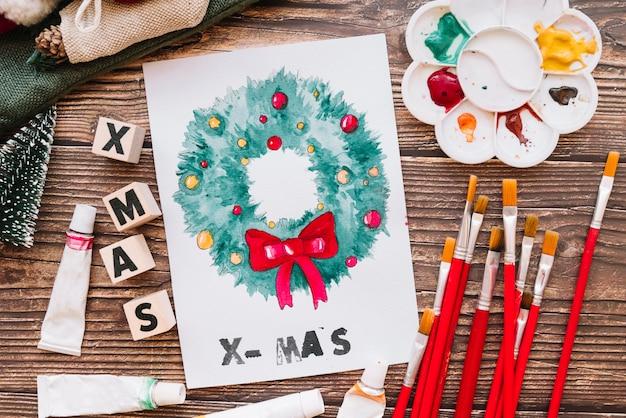 Lack und weihnachtskomposition Kostenlose Fotos