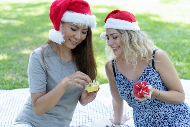Die Weihnachtsgeschenke.Lächelnde Frauen Die Weihnachtsgeschenke Im Park Auspacken