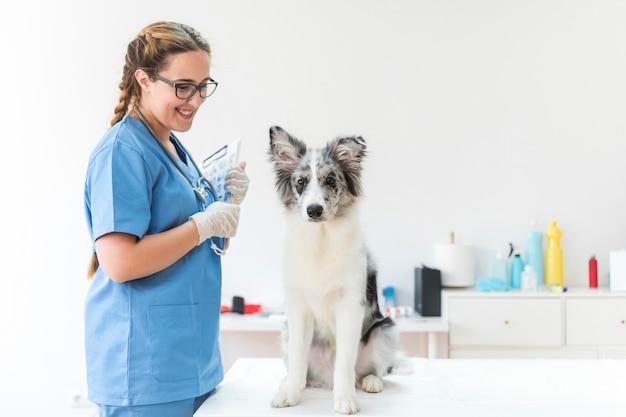 Lächelnder weiblicher tierarzt, der das klemmbrett betrachtet hund auf tabelle in der klinik hält Kostenlose Fotos