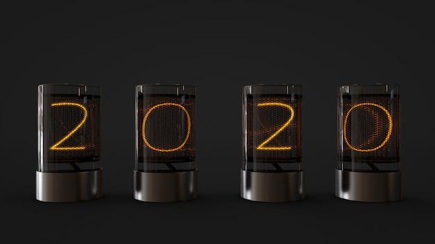 Lampe 2020 im glaszylinder, wiedergabe 3d Premium Fotos