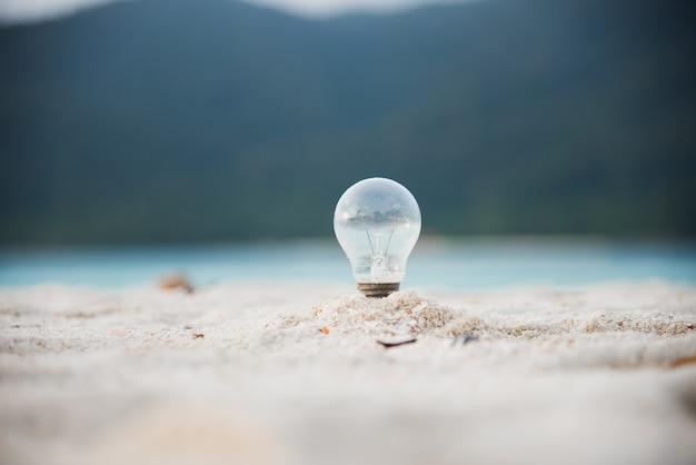 Lampen- und strand-energieumgebung für ihre ideen Premium Fotos