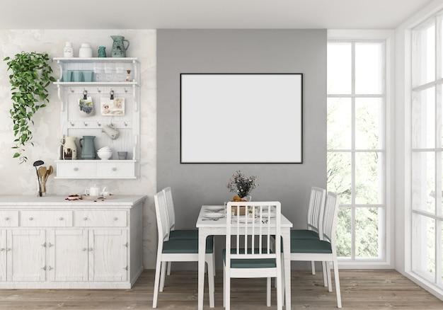 Landküche mit leerem horizontalem rahmen, grafikhintergrund. Premium Fotos