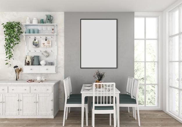 Landküche mit leerem vertikalem rahmen, grafikhintergrund. Premium Fotos