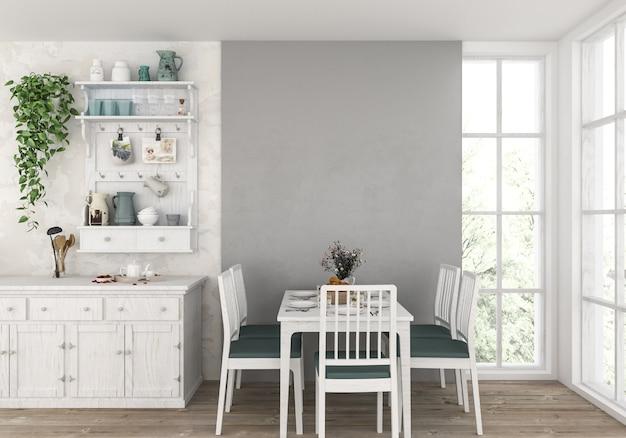 Landküche mit leerer wand, grafikhintergrund. Premium Fotos