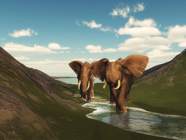 Landschaft 3d mit dem elefantengehen Kostenlose Fotos