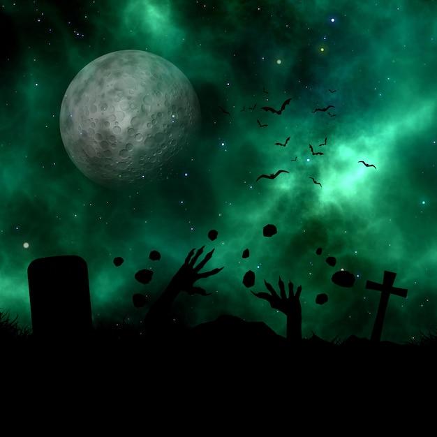 Landschaft 3d mit dem schattenbild des zombies aus dem boden gegen einen raumhimmel ausbrechend Kostenlose Fotos