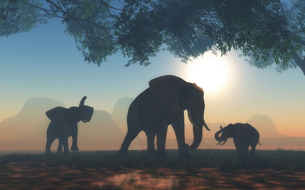 Landschaft 3d mit herde der elefanten Kostenlose Fotos