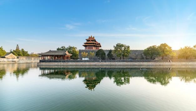 Landschaft des kaiserpalastecketurms in peking Premium Fotos