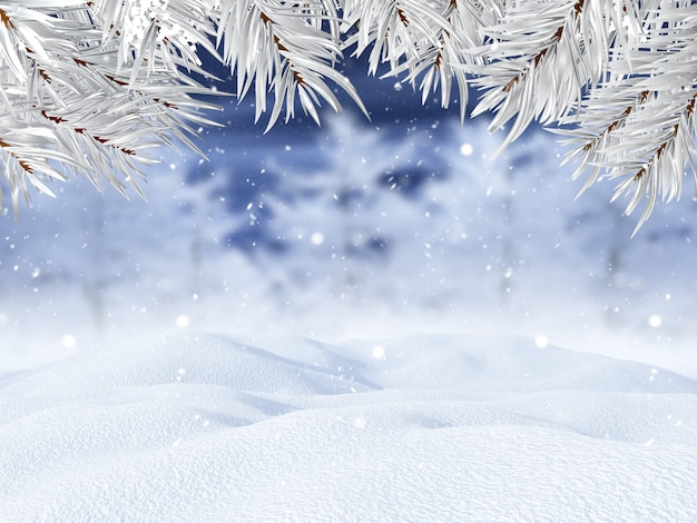 Landschaft des winters 3d mit weihnachtsbaumasten Kostenlose Fotos