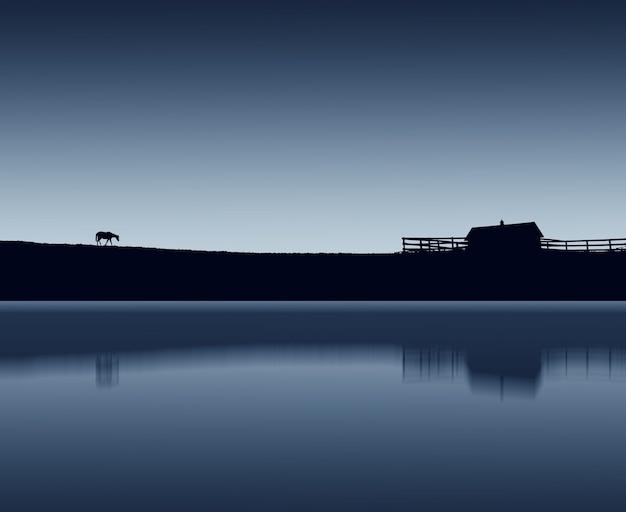 Landschaft einer pferdesilhouette, die während der nacht am see geht Kostenlose Fotos