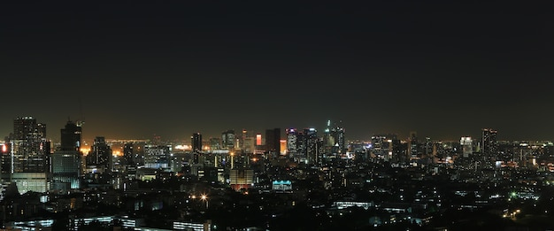 Landschaft von bangkok-stadt nachts Premium Fotos