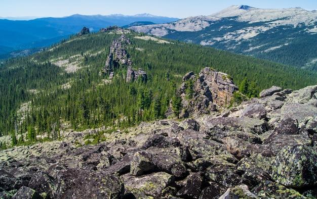 Landschaft von berggipfeln mit felsen und wald Premium Fotos