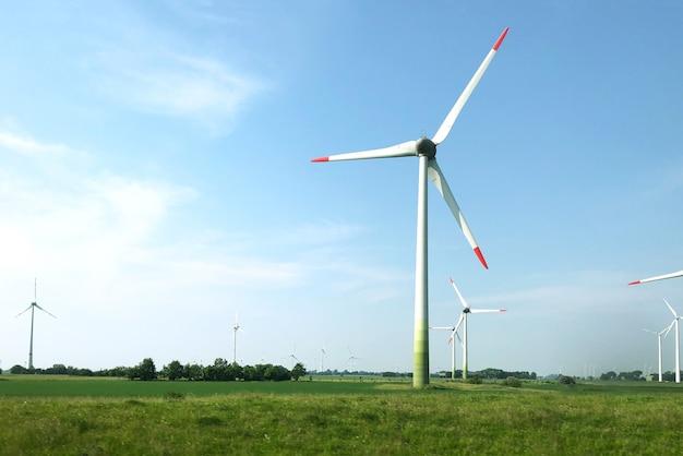 Landschaft von windkraftanlagen in der mitte eines feldes unter dem klaren himmel Kostenlose Fotos
