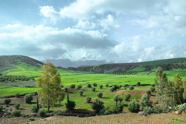 Landschaftsansicht des landwirtschaftsfeldes in der landschaft gegen berg und ky Premium Fotos