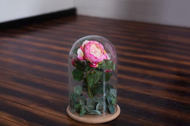 Lang anhaltende rose in einer flasche, in einer glaskuppel, stabilisiert, ein geschenk. lebende rose in einer glasflasche. erhaltene rosa rose. das perfekte geschenk für muttertag, valentinstag, jubiläum oder geburtstag. Premium Fotos