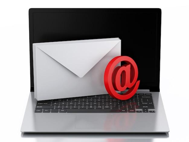 Laptop 3d mit umschlägen. e-mail-konzept Premium Fotos