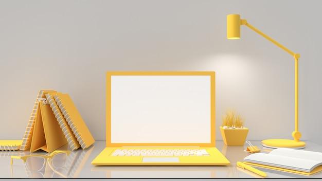 Laptop mit leerem bildschirm auf tischarbeitsplatz, gelbe farbe Premium Fotos
