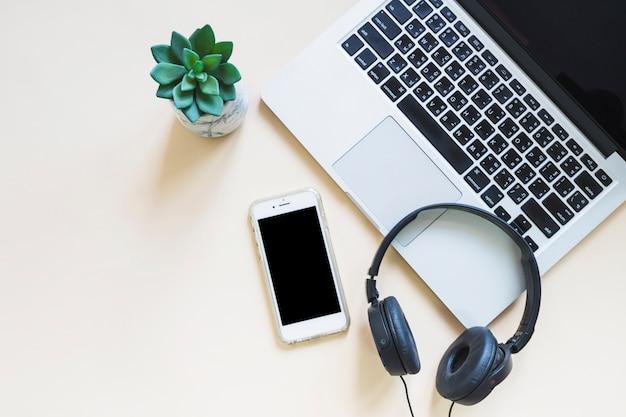 Laptop; mobiltelefon und kopfhörer mit kaktuspflanze auf beige hintergrund Kostenlose Fotos
