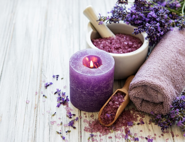 Lavendel-spa-produkte Premium Fotos