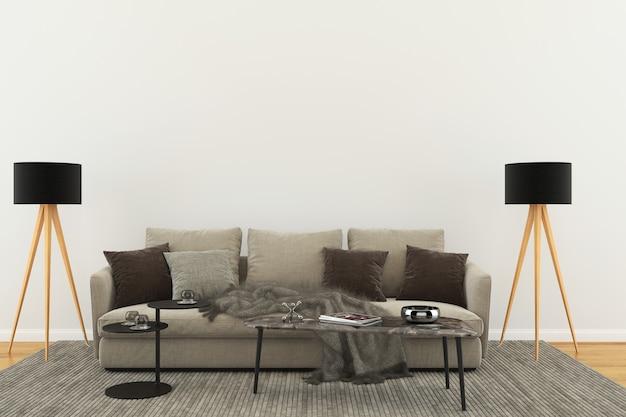 Lebender schabloneninnenraum der pastellraumholzwand Premium Fotos
