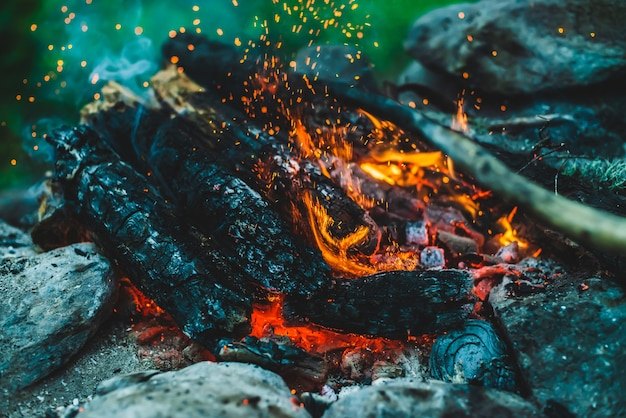 Lebendig schwelende brennhölzer brannten hautnah im feuer Premium Fotos